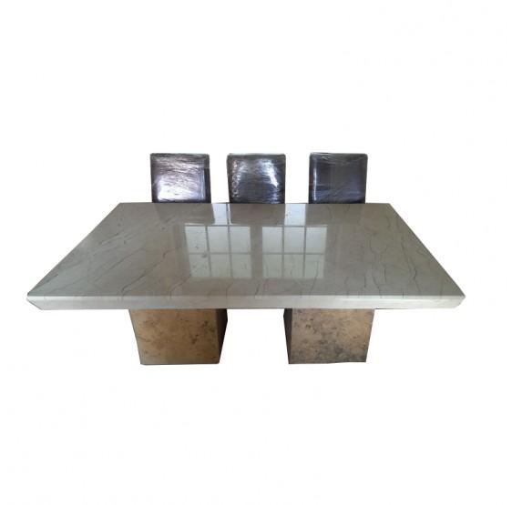 comedor marmol con bases C/sillas